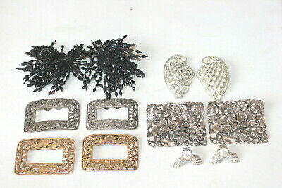 antique vintage lot of 6 pairs of victorian shoe clips MUSI rhinestone beads etc