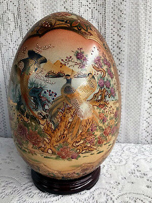 "***** 11 1/4"" Satsuma Gilded Enamel Porcelain Egg Peacocks With Stand # 1 *****"