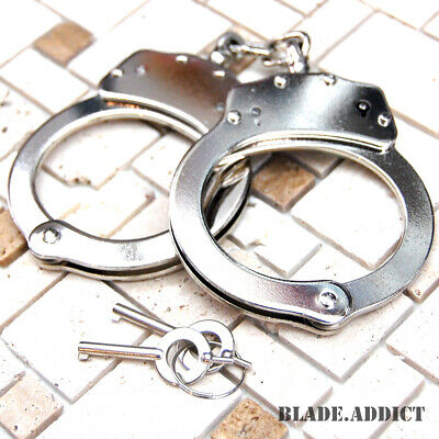 Professional Double Lock Nickel Plated Steel Police Handcuffs w/ keys -X