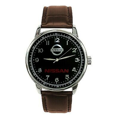 NISSAN Mens Stainless Steel BLACK Dial BROWN Leather Strap Sport CAR Watch