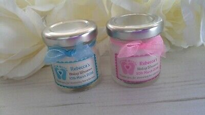 10 x Handmade Personalised Mini Jar Candle Baby Shower Favour
