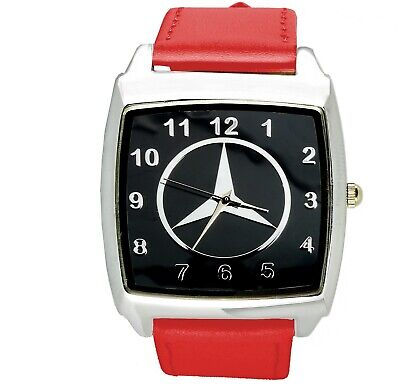 Mercedes Benz 3d chrome square sport watch RED real leather strap