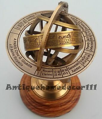 Nautical Solid Brass Sphere Globe Armillary With Marine Wooden Base Replica Gift
