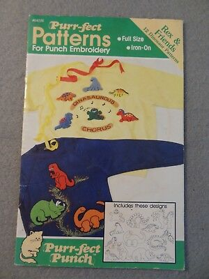 Purr-fect PUNCH Iron-On EMBROIDERY PATTERN 64226 REX & FRIENDS Dinosaurs