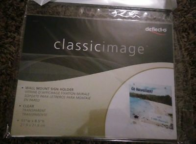 Wall Mount Acrylic Sign Holder Clear 8.5x11 Deflect-o Classic Image Back School