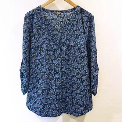 36d79b11326 Women s 41 Hawthorn Stitch Fix Blue Orange Printed Blouse Top Size XL Woman