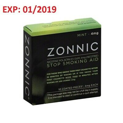 B8 *NEW* ZONNIC Nicotine Gum 4mg Mint 10 Count Quit Smoking AIDS - EXP 01/2019