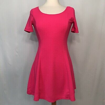 7f746c600036a Divided by H&M Womens Size 10 Neon Hot Pink Dress Fit Flare Skater Stretch  Mini