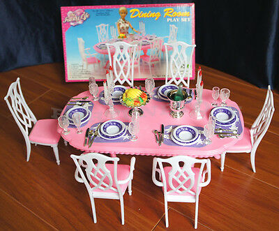 NEW GLORIA DOLLHOUSE FURNITURE 6 CHAIRs DINING ROOM W/Plates Bowls PLAYSET