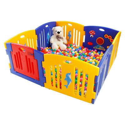 Mamakids Large Foldable Plastic Baby Playpen Indoor & Outdoor, Optional Playmats
