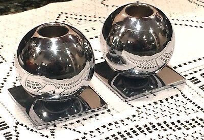 Vintage Art Deco Chase U.S.A. Chrome Globe Candle Holders 2 Piece Set