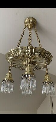 Stunning Antique Brass and Crystal Sheffield Chandelier
