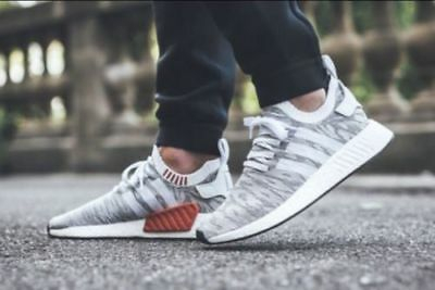 watch 80688 6d2ea ADIDAS NMD_R2 PRIMEKNIT PK White Core Black ORANGE Grey Glitch BY9410 Men's  9.5