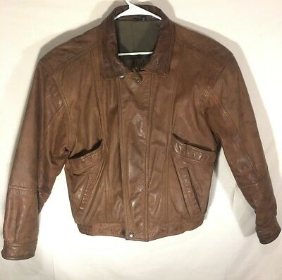 009c5e47f VTG 90S BROWN Leather Jacket MIRAGE Bomber Flight Coat Aviator M ...