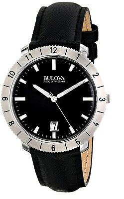 Bulova Accutron II Men's 96B205 Quartz Black Leather Strap 42mm Watch