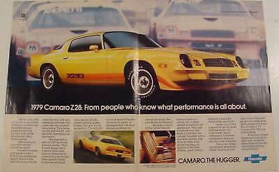 1979 Chevrolet CAMARO Z28 The Hugger yellow with accent striping Print Ad