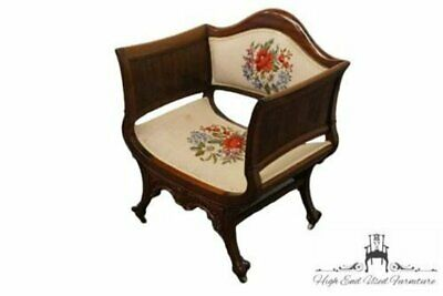 Antique Ornate Ball & Claw Deep Arm Chair w/ Floral Needlepoint
