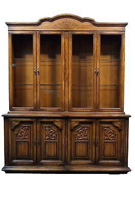 "AMERICAN of MARTINSVILLE Gothic Revival Jacobean Oak 69"" China Cabinet"