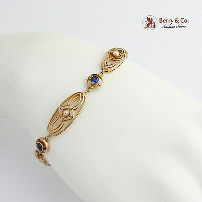 Vintage Edwardian Bracelet Seed Pearls Synthetic Sapphires 14 K Gold