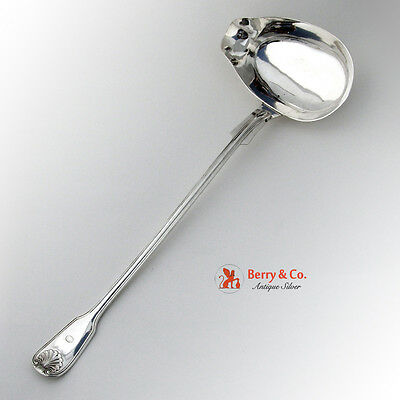 Swedish Soup Punch Ladle Gustav Mollenborg Shell Thread 830 Silver 1860
