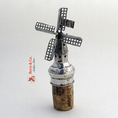 Antique Ornate Silver Wine Bottle Stopper Figural Windmill 1900