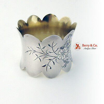 Aesthetic Napkin Ring Sterling Silver Bright Cut Decorations August 21 1892