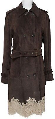 RED VALENTINO Coat Jacket Brown Suede Lace Trench Double Breasted Belt Buckle 44