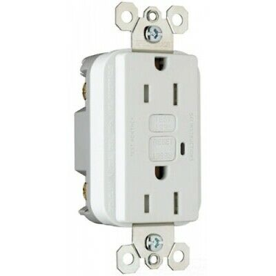 Pass & Seymour Tamper-Resistant Duplex GFCI 1595-TRW 15A 125V White w/Wall Plate