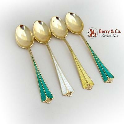 Enameled Gilt Demitasse Spoons Set David Andersen Sterling Silver 1960