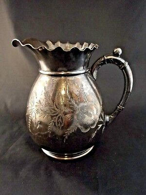 Antique Quadruple Plate Aurora MFG Co Silver Pitcher Floral Ruffled Rim