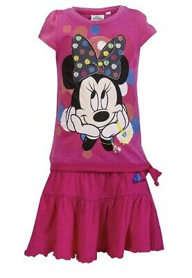Girls Minnie Mouse 2 Piece Outfit. Skirt & Top. Dark Pink 3 Years
