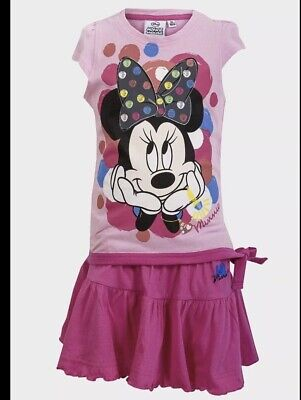 Girls Minnie Mouse 2 Piece Outfit. Skirt & Top. Light Pink 4 Years