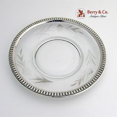 Small Serving Plate Sterling Silver Border Cut Glass Body Rogers Mfg 1950