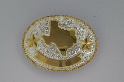 """Western Vintage State of Texas Silver & Gold Plated belt buckle by Justin  3""""X4"""""""