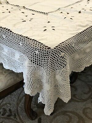 Vintage Embroidery and Hand Crochet Lace Tablecloth Cotton Off-White Rectangle