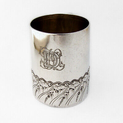 Ornate Cup Christmas Inscription Sterling Silver London Charles Edwards 1884
