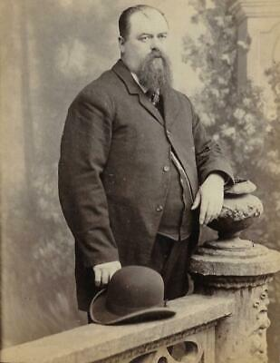 Cabinet Card Photo Cab16 Large Man W/ Brimmed Hat - Godfreys - Rochester Ny