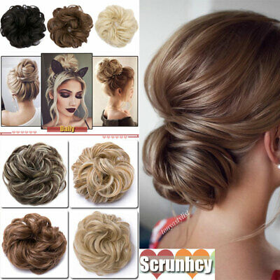 LARGE THICK Curly Chignon Messy Curly Bun Updo Clip in Hair Piece Extensions DHA
