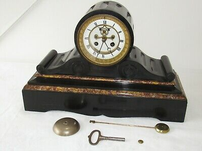 Nice French Striking Marble Visible Escapement Clock By Marti