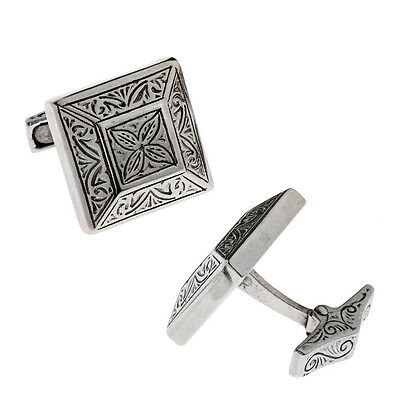 Savati ~ Sterling Silver Byzantine Cufflinks with Engraved Motifs