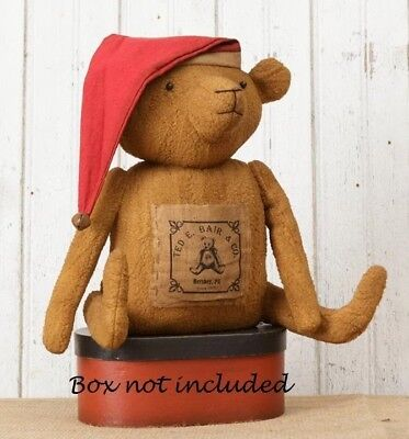 "Primitive TEDDY BEAR WITH SANTA HAT Nightcap Stuffed 13"" Vintage Antique Style"