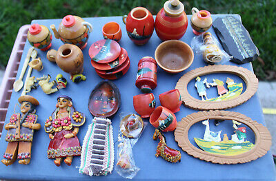 Antique Hand Painted Columbian Ecuador Figurines Miniatures Mini Plates Cups Lot