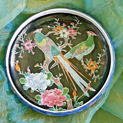 Antique Arita Imari Dish Bowl Signed Japan Enamel Porcelain Rare Flowers Birds