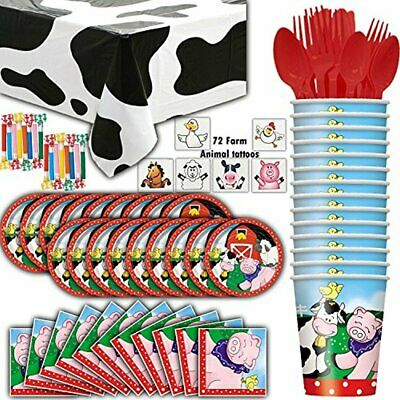 Farm House Animal Party Supplies - 16 Guests - Plates, Cups, Napkins, Cow