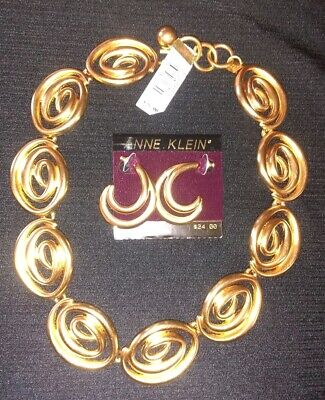 Nwt Anne Klein Set Of Pierced Earrings & Necklace Brushed Goldtone Nice!!