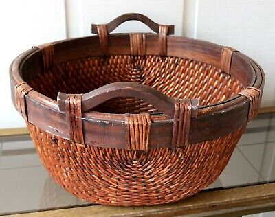 Vintage Chinese Woven Reed Rattan Basket