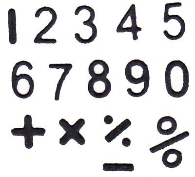 NUMBERS Tiny with mathematical symbols -  Metal Cutting Die - AUSTRALIAN STOCK