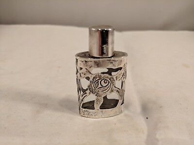 "Vtg Sterling Silver-Wrapped Perfume Bottle, 2"", Made in Mexico, Pre-Owned"