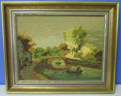 Vintage Framed Wool Needlepoint TAPESTRY Country Cottage by the Water Row Boats