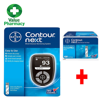 NEW Contour Next Blood Glucose Meter Monitoring System + 100 STRIPS INCLUDED
